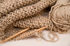 Knitted Yarn Blanket Stock Image