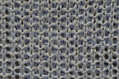 Knitted yarn. Blue knitted fabric with sequins Royalty Free Stock Photos