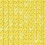 Knitted yellow seamless pattern. Natural warm knitted fabric. Winter woolen clothes. Hand drawn seamless background. Vector, Eps, added to swatch palette. For Royalty Free Stock Photo