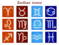 Knitted zodiac set Royalty Free Stock Photos