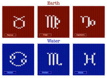 Knitted zodiac set Royalty Free Stock Images