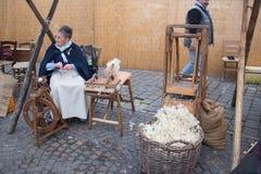 Knitter women. Craftsmen market in Bologna. Tuscany, Italy. Stock Photography