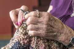 Knitters Hands Royalty Free Stock Images