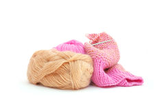 Knitting. Clews, knitting and needles isolated on white background Stock Photography