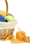 Knitting. Threads in the basket on white background Stock Photography