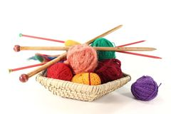 Knitting. Colorful ball of wool with knitting needles in a basket Stock Photos