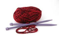 Knitting. Needles and yarn stock image