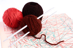 Knitting. Set for knitting and pattern Stock Images