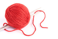 Knitting. Skein of wool and knitting needles on white background Royalty Free Stock Image
