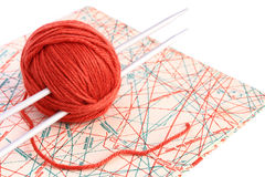 Knitting. Set for knitting and pattern Royalty Free Stock Images