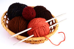 Knitting. Set for knitting in a wicker basket Stock Image