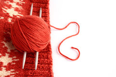 Knitting. Skein of wool and knitting needles on the finished thing Stock Image