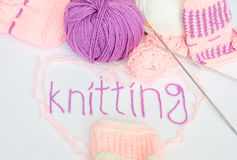 Knitting Word Yarn Stock Photography