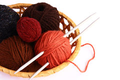 Knitting. Set for knitting in a wicker basket Stock Photos