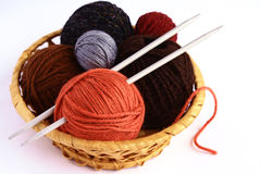 Knitting. Set for knitting in a wicker basket Stock Photo
