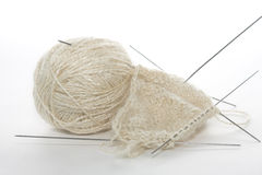 Knitting. White woolen a thread and the unfinished socks Stock Images