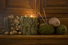 Knitting. Wool for knitting in the candlelight Stock Images
