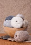 Knitting Accessories Set. Yarn Balls Stock Image