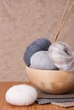 Knitting Accessories Set. Yarn Balls Royalty Free Stock Photography