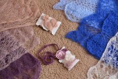 Knitting and accessories for shooting of newborns Royalty Free Stock Photos