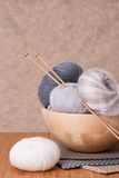 Knitting Accessories. Yarn Balls. Fabric Stock Image