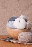 Knitting Accessories. Yarn Balls. Fabric Royalty Free Stock Image