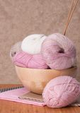 Knitting Accessories. Yarn Balls. Fabric Stock Photo