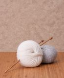 Knitting Accessories. Yarn Balls. Fabric Royalty Free Stock Photo