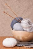 Knitting Accessories. Yarn Balls Royalty Free Stock Photography