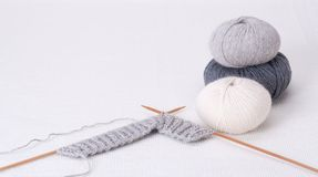 Knitting Accessories. Yarn Balls. On Table Stock Image