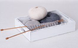 Knitting Accessories. Yarn Balls. On Table Stock Photography