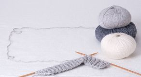 Knitting Accessories. Yarn Balls. On Table Stock Photos