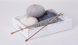 Knitting Accessories. Yarn Balls. On Table Stock Images