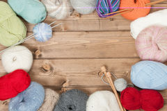 Knitting Accessories. Yarn Balls. Wooden Knit Needles. Copy Space. Stock Image