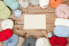 Knitting Accessories. Yarn Balls. Wooden Knit Needles. Copy Space. Royalty Free Stock Image