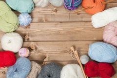 Knitting Accessories. Yarn Balls. Wooden Knit Needles. Copy Space. Stock Images