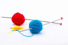 Knitting according Mondriaan. In red, blue and yellow Royalty Free Stock Image