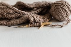 Knitting as a hobby. Accessories for knitting. stock photography