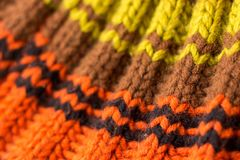 Knitting. Background knitted texture. Bright knitting needles stock photo