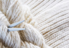 Knitting background - needles and yarn Stock Photography