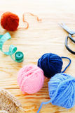 Knitting background, yarn with accessories Stock Photography