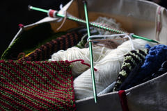 Knitting Bag. Knitting needles and wool in a cloth bag Royalty Free Stock Photos