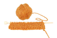 Knitting with a ball of yarn Stock Photography