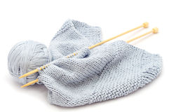Knitting with bamboo needles Stock Photography