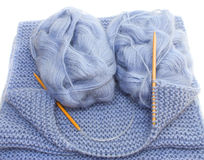 Knitting with bamboo needles Stock Photos