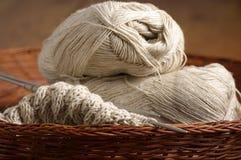 Knitting in basket Royalty Free Stock Photo