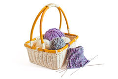 Knitting basket Stock Images