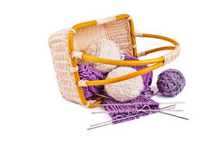 Knitting basket Royalty Free Stock Photos