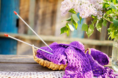 Knitting in a basket Royalty Free Stock Photos
