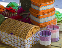 Knitting basket in a shop. Knitting basket with flower pattern in a shop Royalty Free Stock Images